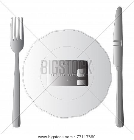 Illustration of fork and knife and bank card