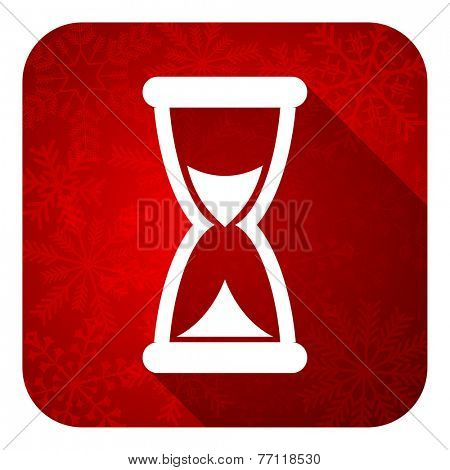time flat icon, christmas button, hourglass sign
