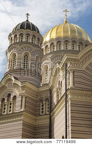 Cupolas of the Orthodox Cathedral in Riga, Latvia