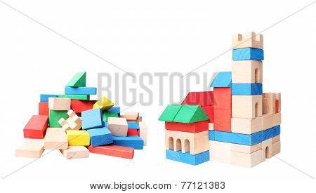 stack of colorful blocks, castle made of wooden blocks