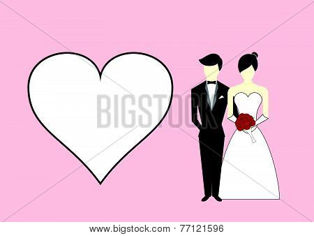 Bride And Groom With Heart On Pink Background. Vector Illustration