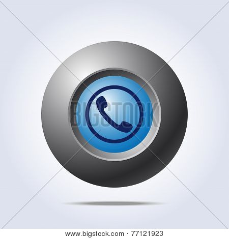 Blue button with phone handset icon