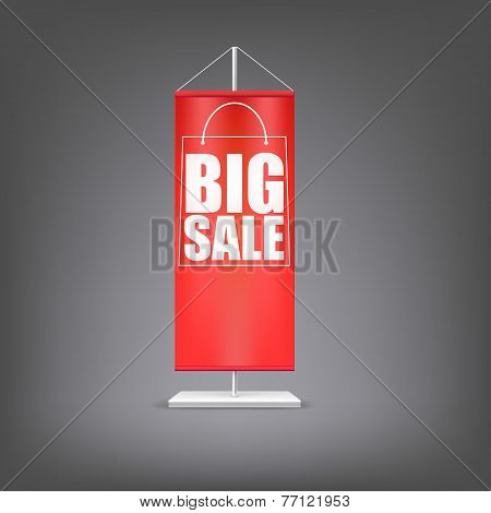 Big sale. Vertical red flag at the pillar.