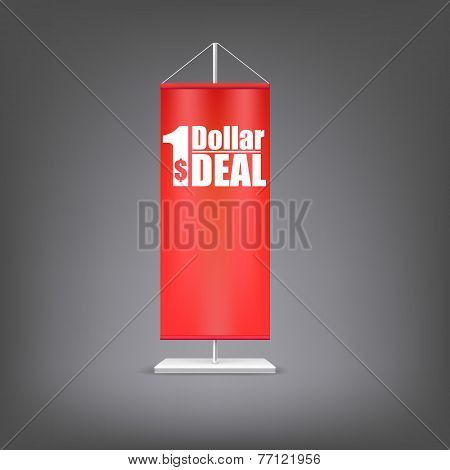 Dollar deal. Vertical red flag at the pillar.