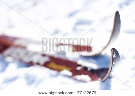 Skiing On A Ski Slope Close-up Perspective