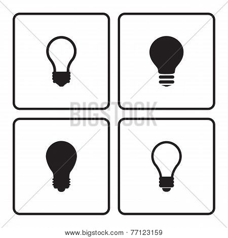 Light bulb black silhouette icons.
