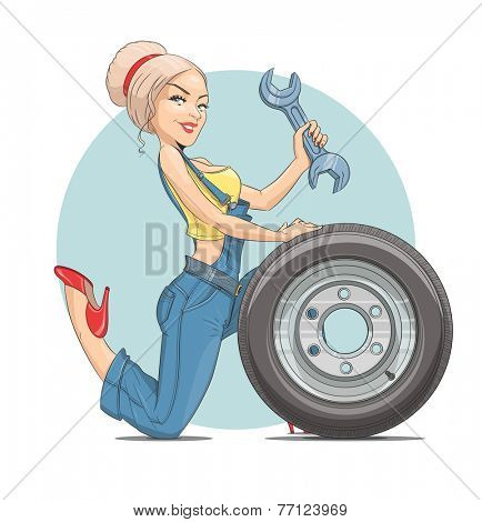 Beautiful girl mechanic with wheel. Vector illustration. Isolated on white background