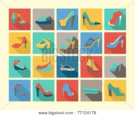 Flat Icons Set Of Fashion Footwear