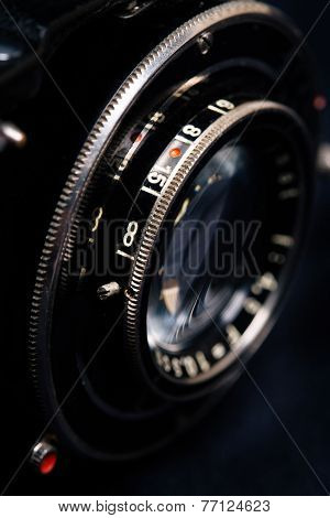 A retro camera lens close-up
