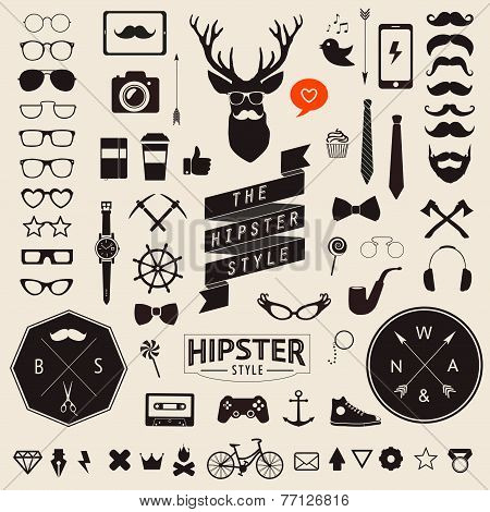 Huge set of vintage styled design hipster icons Vector signs and symbols templates for your design