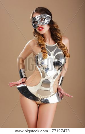 Eccentric Woman In Cosmic Mask And Cyber Costume