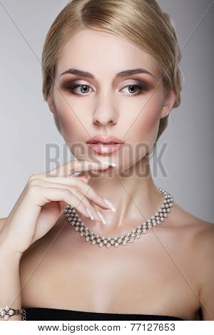 Sophisticated Aristocratic Posh Lady With Pearly Necklace