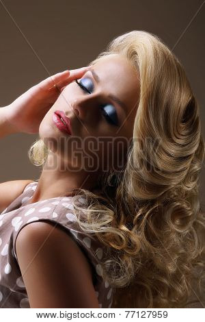Gorgeous Dreamy Lady With Closed Eyes And Braided Hairs. Festive Makeup