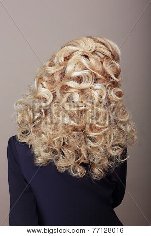 Rear View Of Woman With Frizzy Ashen  Hairs. Festive Braided Hairdo