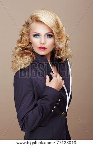 Charisma. Businesslike Woman Blonde In Blue Suit