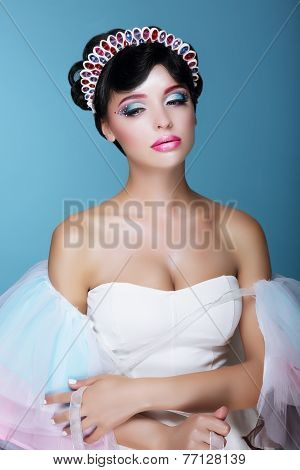 Inspiration. Fashion Model With Dramatic Theatrical Makeup And Diadem