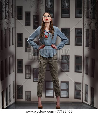 Trendy Woman Posing In Pants And Blouse