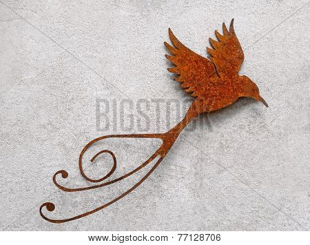 Flying bird made of metal