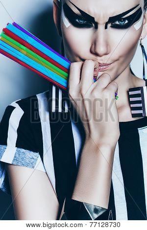 Angry Woman With Colourful Drinking Straws