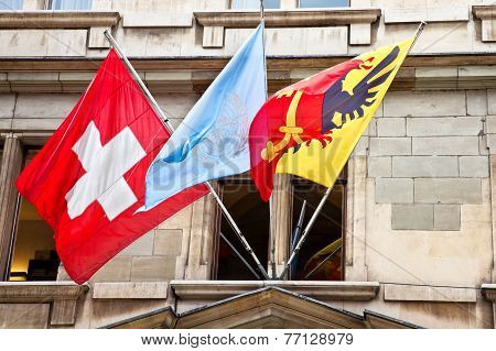 Geneva. National Flags Of Countries And Cities