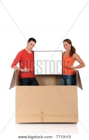 Caja de chat pareja publicidad