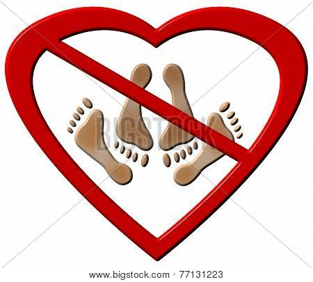 No Love Making Feet Sign