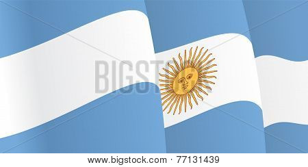 Background with waving Argentine Flag. Vector