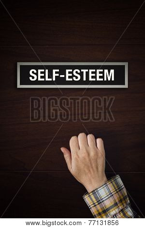 Hand Is Knocking On Self-esteem Boost Door
