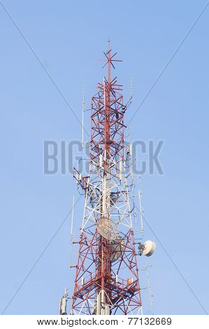 Antenna of communication tower and blue sky background