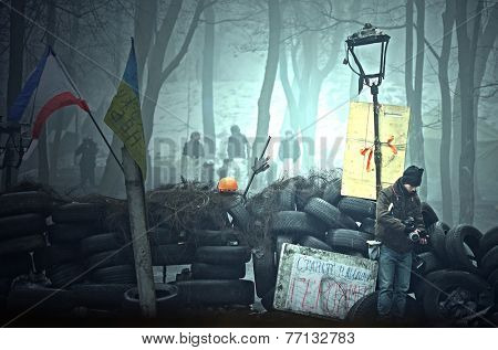 KIEV, UKRAINE - FEB 11, 2014:Vandalism in downtown. Kiev under occupation of peasants from Western Ukraine during Revolution of Dignity.February 11, 2014 Kiev, Ukraine