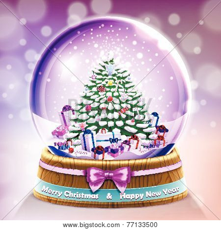 Snow glass crystal ball with christmas tree and gifts card In Vector