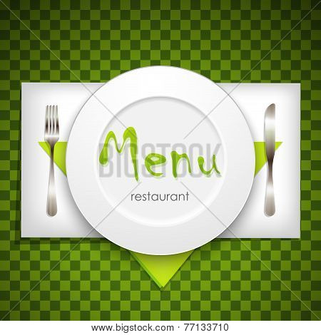 restaurant menu design with plate and silverware