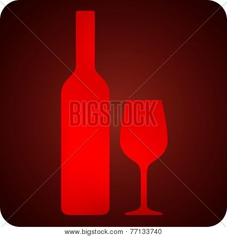 illustration with bottle and wineglass. bar sign