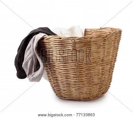Close Up Of Used Male Underwear In Basket Isolated On White Clipping Path.