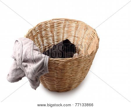 Used Male Underwear In Basket Isolated On White Clipping Path.