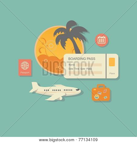 style modern  illustration concept of planning a summer vacation