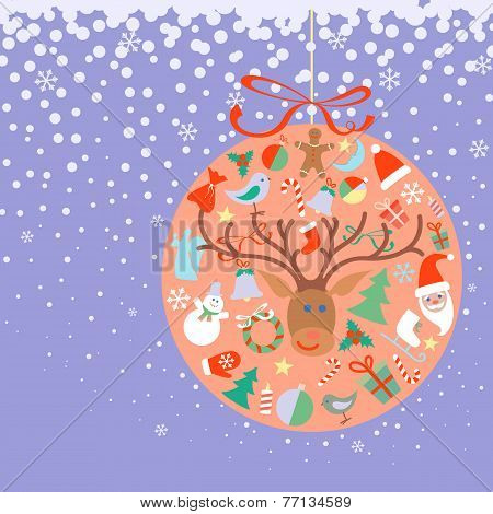 New Year and Christmas ball with decorations toys