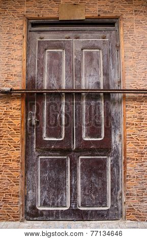 Locked Brown Door In Morocco