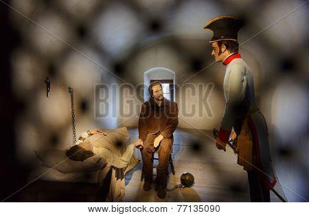 KUFSTEIN, AUSTRIA - FEBRUARY 28:  Scene in castle Kufstein - prisoners and soldier on February 28, 2012 in Kufstein, Austria.