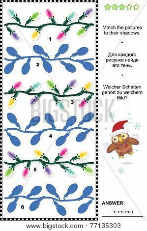 Christmas or New Year shadow game with christmas lights