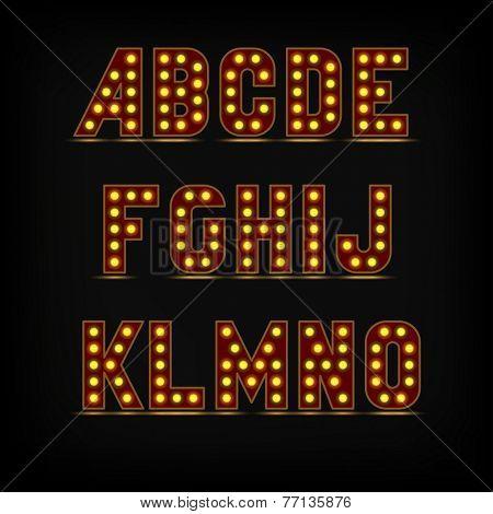 lightbulb alphabet font night life A-O