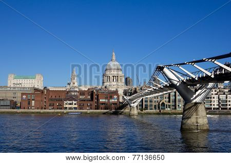 St Pauls Cathedral And Millenium Bridge