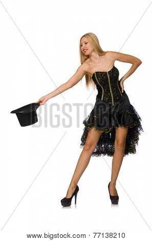 Woman doing tricks isolated on white