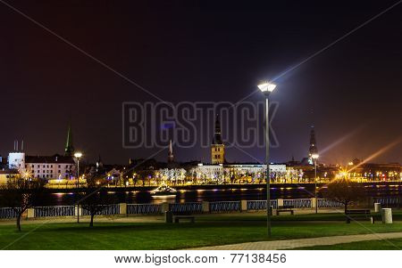 Daugava Embankment At Night