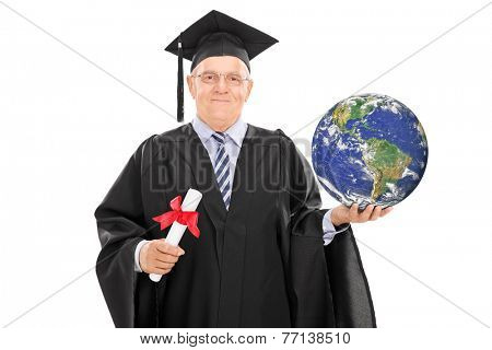 Mature graduate holding a diploma and the Earth isolated on white background, Earth image in public Domain and furnished by NASA