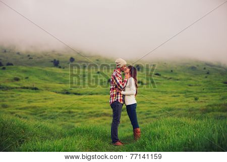 Romantic Young Couple in Love Outdoors in the Countryside