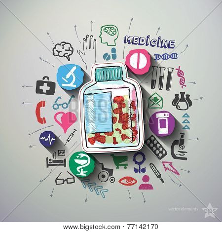 Healthcare collage with icons background