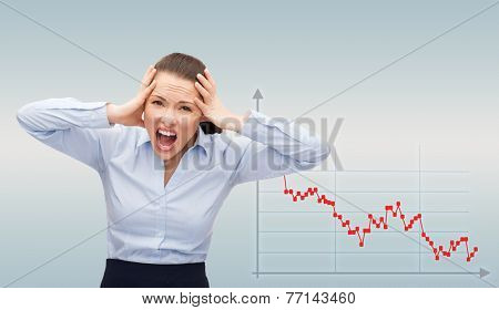 business, bankruptcy, desperation, people and stress concept - angry screaming businesswoman over gray background and forex graph going down