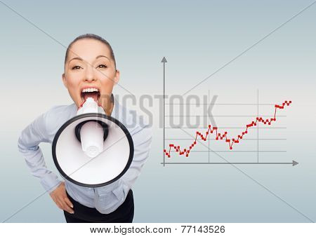 business, people and announcement concept - screaming businesswoman with megaphone over gray background and forex graph going up