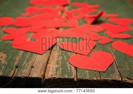 Many Paper Hearts On Board
